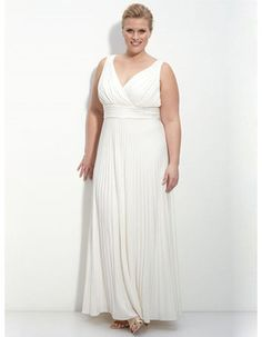 Charming Custom Sheath Plus Size V-Neck Ankle Length Chiffon Reception Beach Wedding Dress with Pleated Waist and Skirt