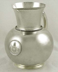Pitcher detail from magnificent Gorham sterling silver pitcher and matching goblets, c1870 (supershrink)