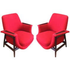 Theo Ruth 1950s Large Pair of Chairs, Newly Upholstered