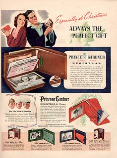 "1942 Princess Gardner Wallets Original Print Ad -An original vintage 1942 advertisement, not a reproduction -Measures approximately 10"" x 13"" to 11"" x 14"" -Ready for matting and framing."