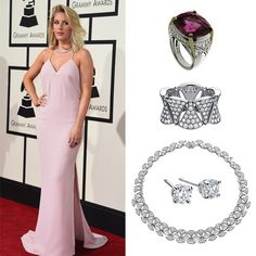 Bvlgari - Ellie Goulding wore a Diva diamond-paved necklace with Griffe white gold earrings at the Grammy Awards. She also wore a cushion-cut spinel ring and a Diva white gold diamond-paved ring #bvlgari #jewelry #celebrity