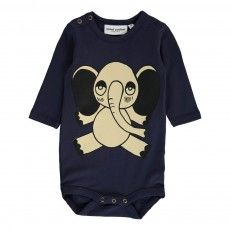 Elephant Organic Cotton Babygrow Navy blue