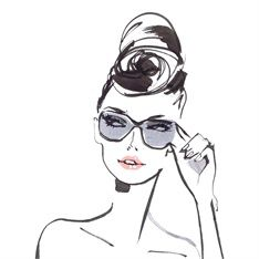 Lady in style goggles, illustration by Jacqueline Bissett