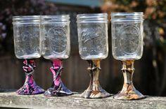 Mason Jar Wine Glasses Mossy Oak Camo or Muddy by TaylorKreations, $17.00