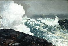 Crashing waves by Winslow Homer, c. 1900 Though he was a master at depicting the stormy Maine coast, Winslow Homer was far. Winslow Homer Paintings, New Wave, Guache, Art Graphique, Fine Art, Whistler, Cannes Film Festival, American Artists, American Realism