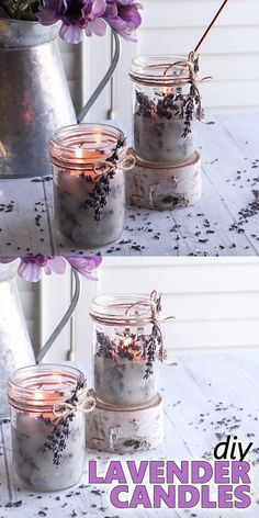 If you like the look (and aroma) of dried lavender as much as we do, then you'll love how easy it is to use the stems to make these pretty DIY lavender candles. #candlemaking #mothersday #diycandles #howtomakecandles #lavendercrafts