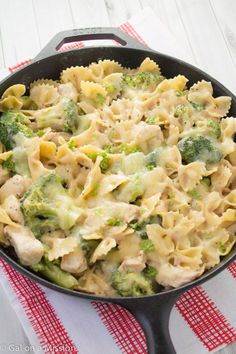 Chicken, Broccoli, & Pasta Skillet Casserole.