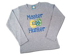 Boy's Easter Shirt - Master Egg Hunter with Embroidered Name by SunbeamRoad on Etsy