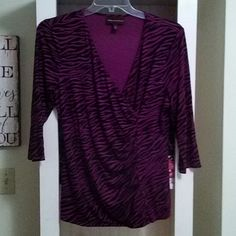 3003963d67853 Dana Buchman top Dana Buchman top purple and black animal print 3 4 sleeve  stretchy