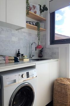 Studio Black Interiors_Maria Cerne_Laundry Styling - Before After DIY Laundry In Kitchen, Modern Laundry Rooms, Laundry Decor, Laundry In Bathroom, Interior Design Living Room, Living Room Designs, Modern Interior, Interior Ideas, Laundry Room Inspiration