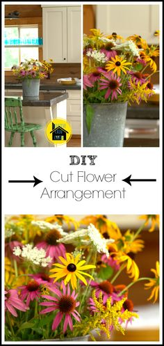 DIY Cut Flower Arrangement. Looks alot like the flowers we had at your wedding :)
