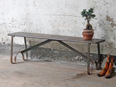 Vintage Iron And Teak Bench from Scaramanga's vintage furniture and interior collection