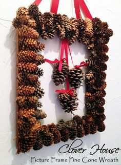 Picture Frame Pine Cone Wreath
