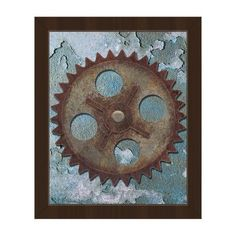 """Click Wall Art Lonely Gear Framed Graphic Art on Canvas Size: 10"""" H x 8"""" W x 1"""" D, Frame Color: Espresso"""