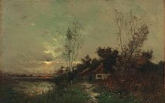 """""""The Evening Glow,"""" Arthur Hoeber, oil on canvas laid to panel, 18 1/4 x 28"""", private collection."""