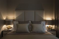 warm taupes and soft lighting - contemporary bedroom - Lawson Robb - Architecture and Interior Design