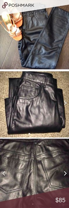 🏍EXPRESS BLACK PANTS 100% LEATHER🏍 ... Very thick leather pants. Tags still on great quality. 100% leather. Never worn. Retail Price $150+ Tax... Up for sale or trade. Trade value higher... Make me OFFERS😘. Express Pants