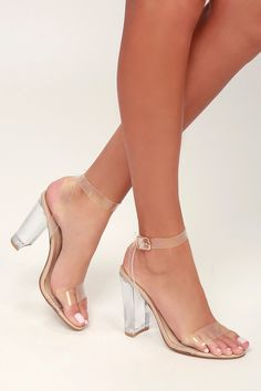 Everywhere you walk in the Steve Madden Camille Clear Lucite Ankle Wrap Heels will feel like a runway! Strappy lucite heels with wraparound ankle straps. Dr Shoes, Cute Shoes, Me Too Shoes, Lace Up Heels, Ankle Strap Heels, Ankle Straps, Rose Gold Heels, Black Strappy Heels, Giuseppe Zanotti Heels