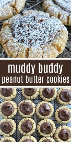 Muddy Buddy Peanut Butter Cookies   Christmas Cookies   Cookies   Peanut Butter Cookies   Let chocolate set and cool completely (about 2 hours) before dusting with powdered sugar. To speed up the chocolate cooling and hardening, place cookies in the fridge or the freezer. #cookies #easyrecipe #christmascookies #dessert #peanutbuttercookies