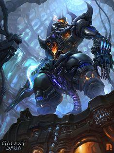 Artist: Unknown name aka Nicotine - Title: Demon reaper - Card: Baphometic Horror Character Concept, Character Art, Character Design, Character Ideas, Cyberpunk, Saga Art, Gundam Wallpapers, Alien Concept Art, Sci Fi Fantasy