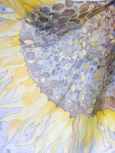 Hand painted silk scarf  with big yellow sunflower от EleNesSilk