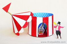 Free printable circus tent templates in various colors to craft and assemble into an easy three-dimensional paper circus tent. Crafts For Kids To Make, Projects For Kids, Kids Crafts, Arts And Crafts, Daycare Crafts, Classroom Crafts, Circus Birthday, Circus Theme, Circus Tents