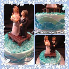 Anniversary cake, Double layered red velvet cake w fondant and frosting details.   #finishingtouchesbyliz #cake #anniversary #dock #water #love