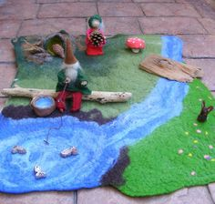 Waldorf Wool Felted Playmat or Playscene or Playscape - Meadows with Stream and Pond. £25.00, via Etsy.