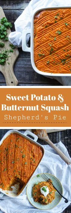 Sweet Potato and Butternut Squash Shepherd's Pie #shepherdspie #butternutsquash #healthy #groundturkey #sweetpotato #easyrecipe