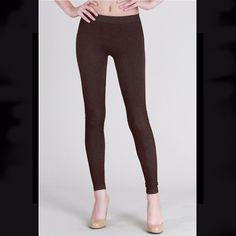 21ec3332df3154 Brown Jean Print Two Tone Leggings by Nikibiki #fashion #clothing #shoes  #accessories
