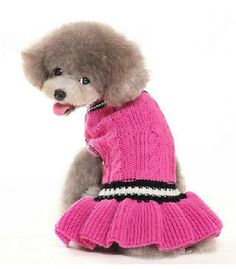 Pet knitted dress Dog clothing Mei red knit Wool by kelifastner, $22.90