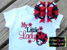 My Little Lady LadyBug Applique Boutique White Shirt or Onesie and Matching Hair Bow Set for Baby, Toddler, or Youth Girls. $28.00, via Etsy.
