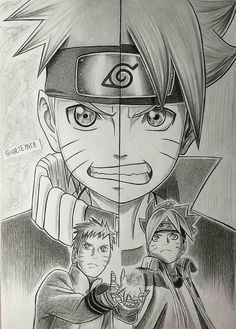 Naruto and Boruto - Fan art Naruto Vs Sasuke, Anime Naruto, Fan Art Naruto, Manga Anime, Fan Art Anime, Anime Ninja, Naruto Drawings, Naruto Sketch, Anime Sketch