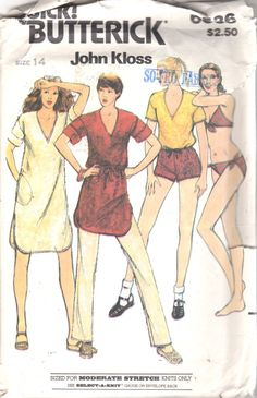 Butterick 6536 John Kloss Misses Bikini Cover Up Dress Tunic Top Pants and Shorts by mbchills Vintage Dress Patterns, Vintage Dresses, Vintage Outfits, Vintage Fashion, Crochet Bikini Pattern, Swimsuit Pattern, Bikini Cover Up, Bikini Top, Kaftan