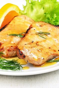 Recipe including course(s): Entrée; and ingredients: black pepper, brown sugar, corn starch, garlic, olive oil, orange juice, pork chops, sea salt, soy sauce, water