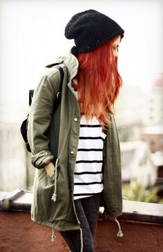 Love this look, orange hair, green Parker and beanie hat.