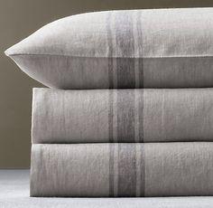 Bed linen Zara Home - - Futons, Neutral Bed Linen, Restoration Hardware Bedding, Striped Bedding, Striped Linen, Ticking Stripe, Linen Duvet, Grey Duvet, Coverlet Bedding