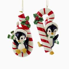 1 Set 2 Assorted Penguin with Candy Canes Christmas Ornaments