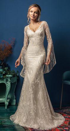 1fdb88ee92e4 amelia sposa 2019 bridal long hanging sleeves v neck full embellishment  elegant fit and flare wedding