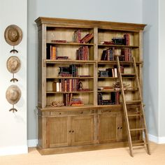 Library Bookcase W/Ladder , Sarreid Ltd Portal ! | Your Source for the Exceptional