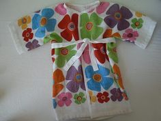 Adorable toddler bathrobe made from two dollar store dish towels (Obsessively Stitching)