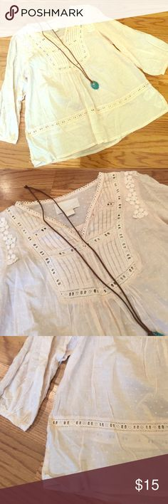 Conscious Collection H&M Cream Boho Top Excellent condition! Gorgeous embroidery detailing. Runs true to size. Necklace sold separately. H&M Tops Blouses