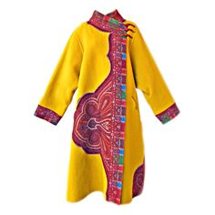 OSCAR DE LA RENTA ASIAN INSPIRED WEARABLE ART TRAPEZE COAT
