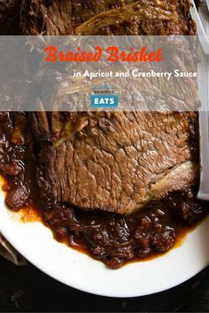 A tender and moist braised beef brisket in an apricot and cranberry sauce.