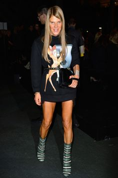 Anna Dello Russo - Givenchy Bambi print sweater, green 105m Eelskin boots , and a black clutch.  - Front Row Givenchy Spring 2014 Show | Paris Fasion Week