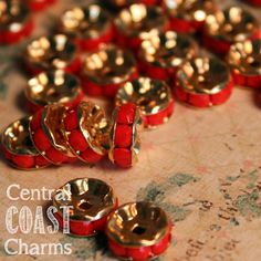6mm Opaque Coral Red Czech Glass Crystal Rhinestone Rondelle Spacers - 8 pcs - Channel Set - Vintage Gold Setting - Central Coast Charms