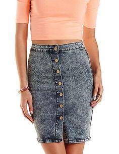 Button-Up Acid Wash Denim Skirt: Charlotte Russe #denim #skirt #spring