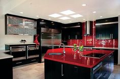 Red kitchen design ideas, pictures and inspiration red kitchen, black kitchens, luxury kitchens Black And Red Kitchen, Black Kitchen Decor, Black Kitchens, Luxury Kitchens, Kitchen Colors, Cool Kitchens, Black Decor, Modern Kitchens, Kitchen Rustic