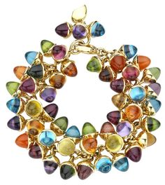 Tamara Comolli Mikado Flamenco Candy bracelet. A captivating riot of deliciously vibrant 8x7mm acorns in amethyst, tourmaline, topaz, citrine, garnet, peridot and morganite set in 18ct yellow gold.