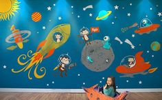 Astro Monkey's In Space Wall Decal Mural Set - Large - http://www.theboysdepot.com/astro-monkeys-in-space-wall-decal-mural-set.html